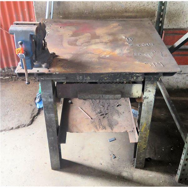 "Metal Square Shop Table w/ Attached Vise 36"" Diameter"