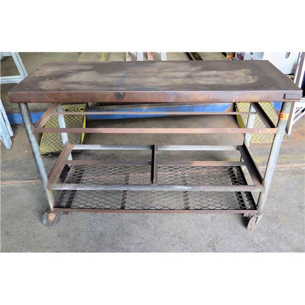 """Metal Rolling Shop Table w/ Undershelf 19""""W x34"""" Ht."""