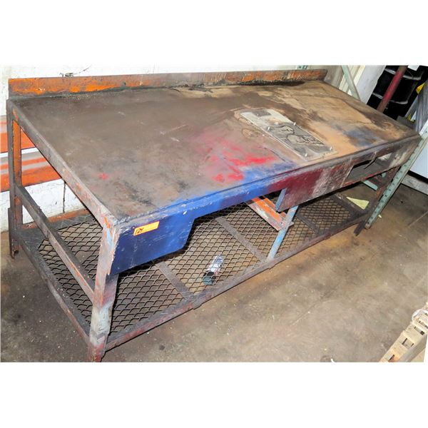 """Metal Shop Table w/ Undershelf 84""""x30""""x33"""" Ht. (Pick up by appointment)"""