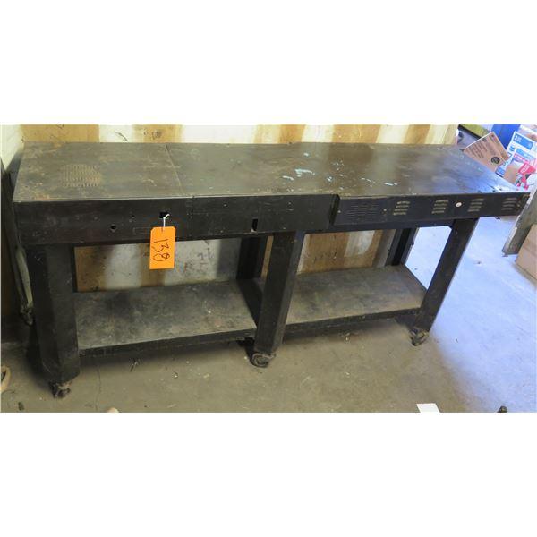 """Rolling Black Shop Table w/ Undershelf 77""""x19""""x35"""" Ht."""