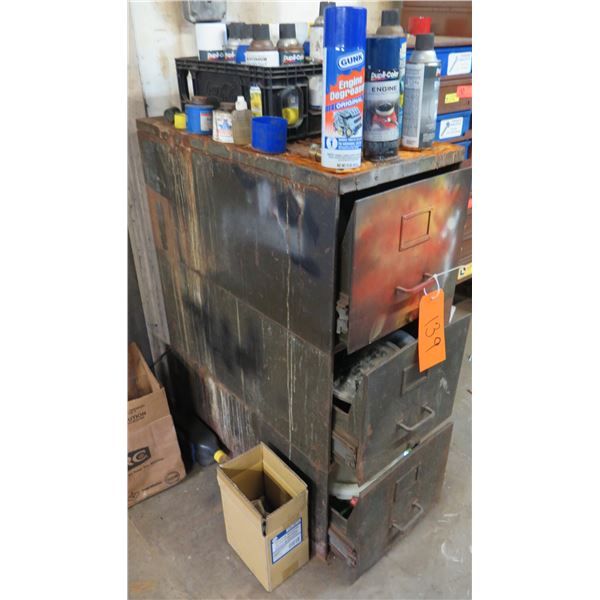 Metal 3 Drawer File Cabinet & Contents: Fire Extinguisher, Paint Cans, etc