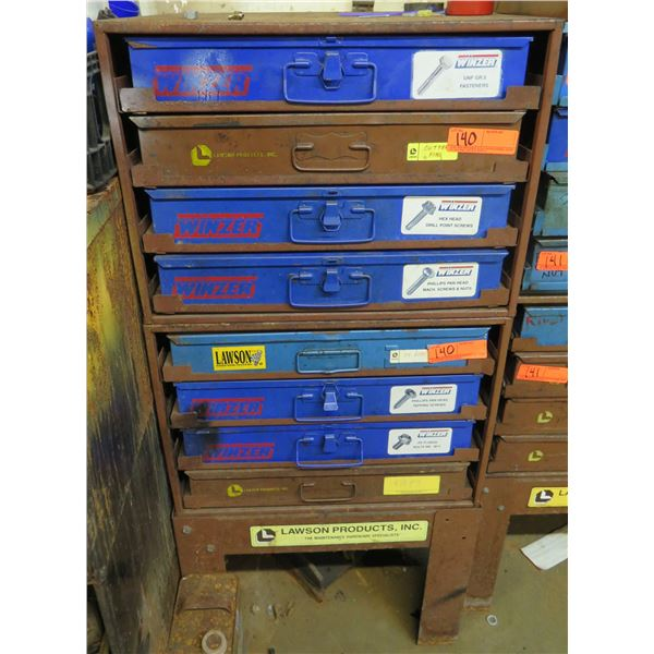 Lawson Products Metal 7 Drawer Cabinet & Contents: Screws, Fasteners, Nuts, etc
