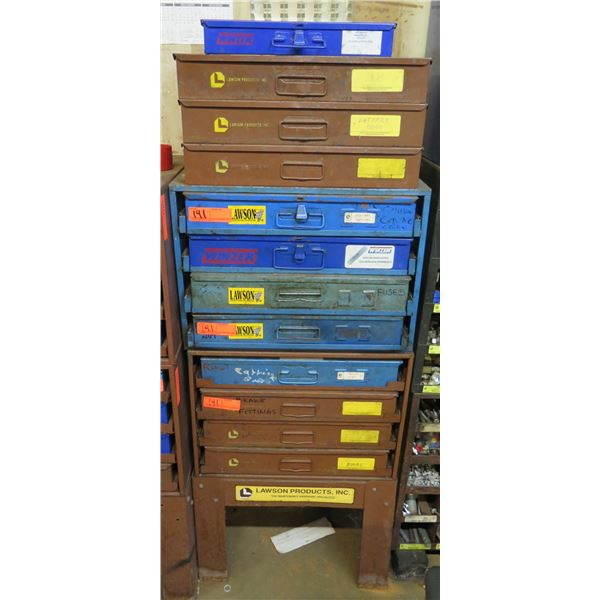 Lawson Products Metal 12 Drawer Cabinet & Contents: Terminals, Fuses, Bulbs, etc