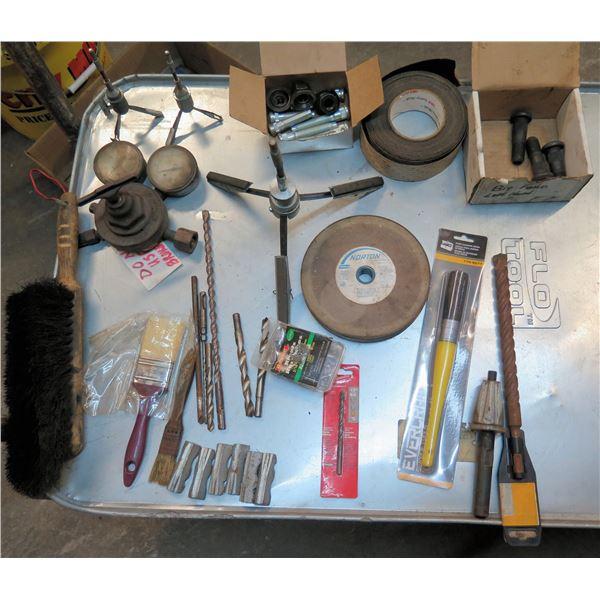 Multiple Drill Bits, Paintbrushes, Welding Gauges, Grinding Wheel, etc