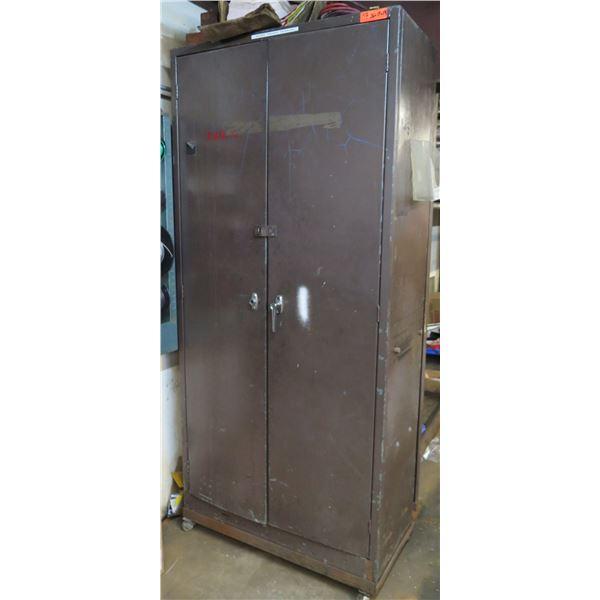 """Rolling Metal 2 Door Cabinet w/ 5 Inside Shelves 36""""x18""""x81"""" Ht."""