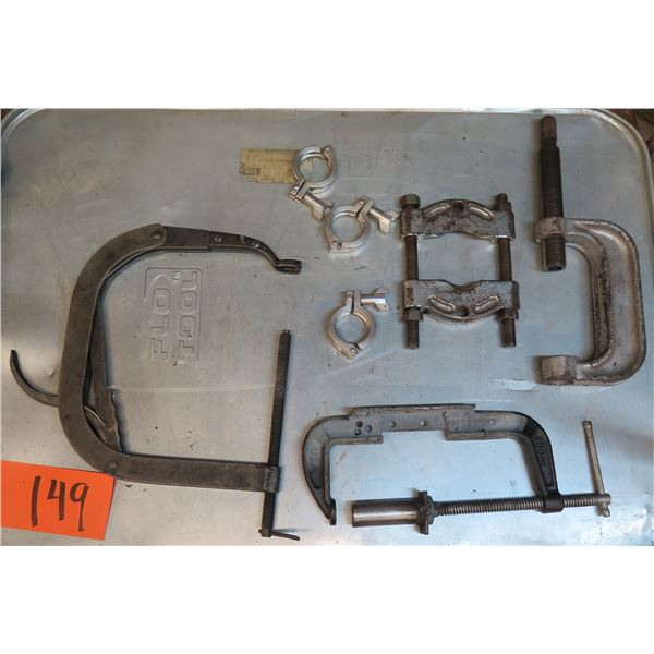 """Qty 3 Misc Size """"C"""" Clamps, Misc Clamp, etc"""