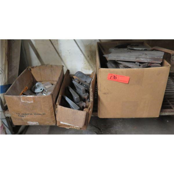 Qty 3 Boxes Press & Machine Parts: Wedges, Clamps, etc