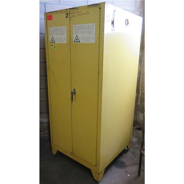 "Eagle Tower Yellow Metal Flammable 2 Door Cabinet 31""x32""x70"" Ht. (no key)"
