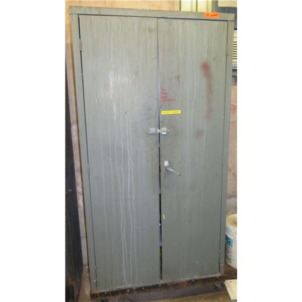 """Metal 2 Door Cabinet 36""""x18""""x75"""" Ht. & Contents:  Fire Extinguishers, Ajax, etc"""