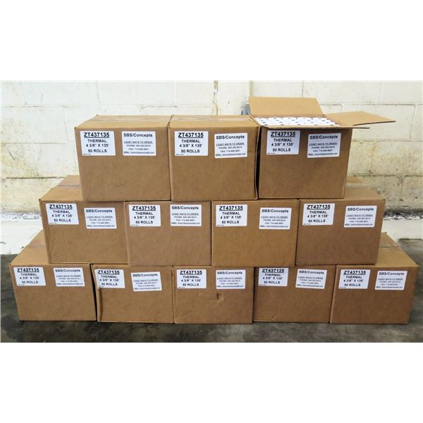 """Qty 12 Boxes (50 Rolls Each) Thermal 4 3/8"""" x 135' Rolls ZT437135"""