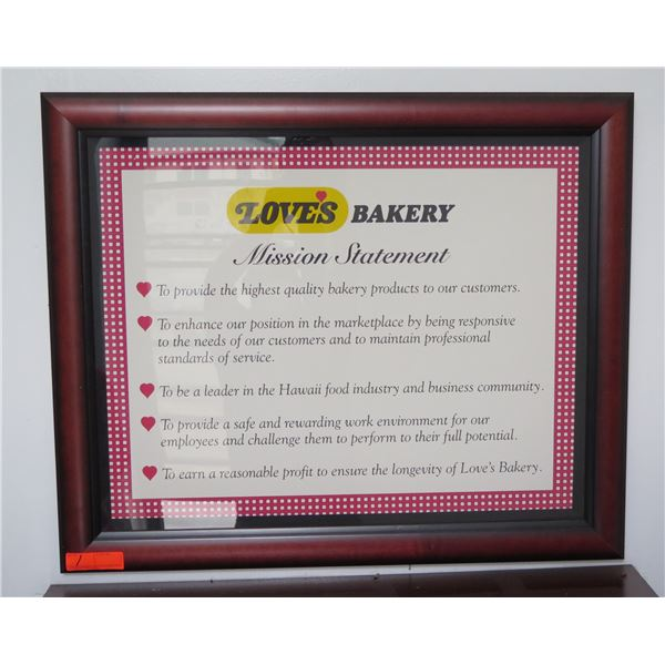 """Love's Bakery Mission Statement in Wood Frame 34""""x28"""""""