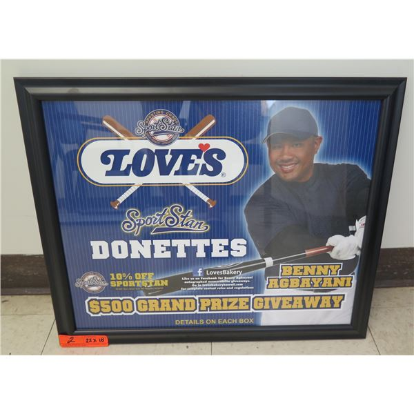 """Love's Sport Star Donettes Benny Agbayani Grand Prize Giveaway Framed 22""""x18"""""""
