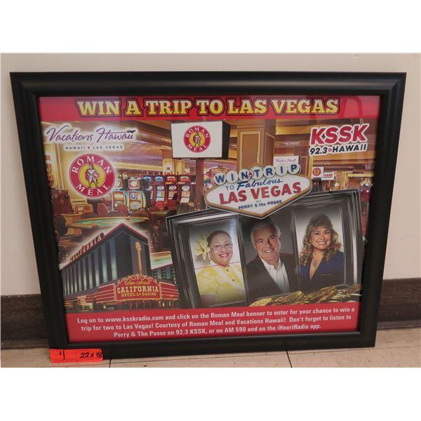 "Roman Meal Win a Trip To Las Vegas KSSK Promo Framed 22""x18"""