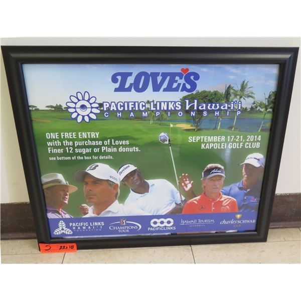 """Love's Pacific Links Hawaii Championship One Free Entry Promo Framed 22""""x18"""""""