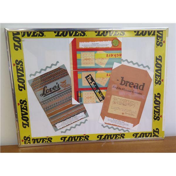 "Love's Bakery Framed Bread Bag, Notarized Book Cover & Century Art 24""x18"""