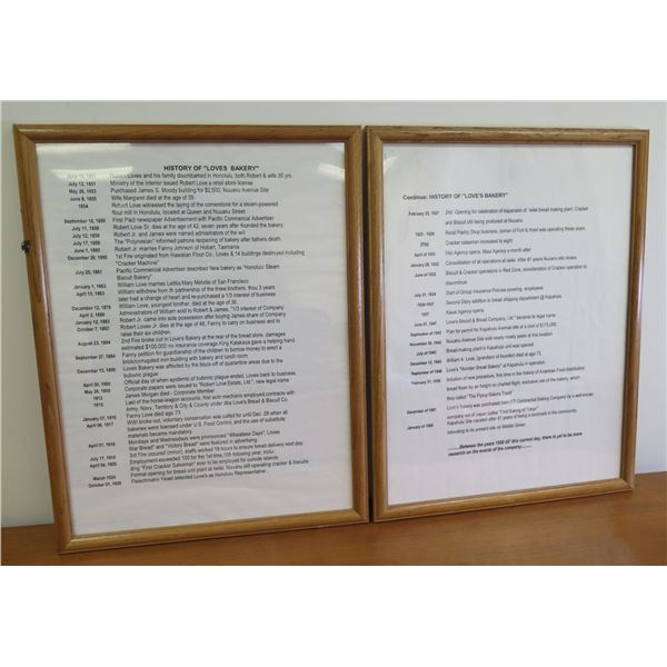 Qty 2 Framed Documents: History of Love's Bakery 1851-1990