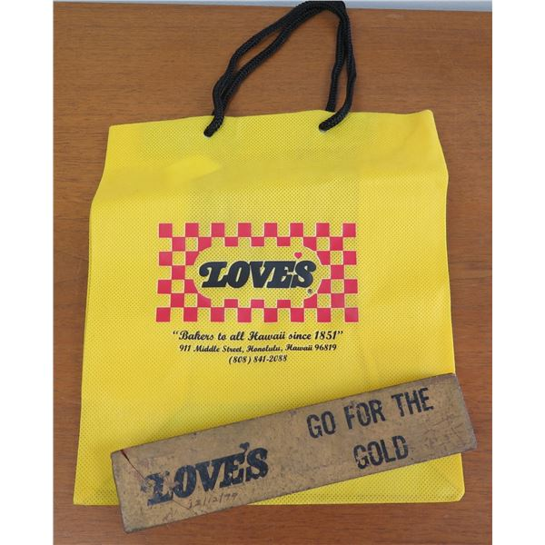 """Love's Logo Tote Bag & """"Go For The Gold"""" Brick 8""""Long 12/12/79"""