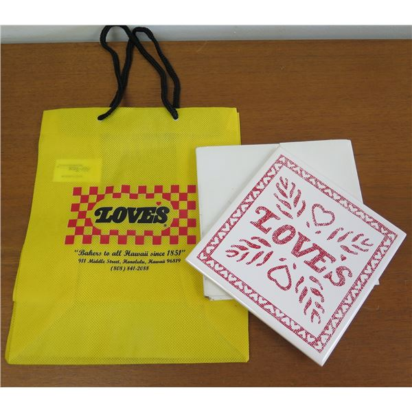 "Love's Logo Tote Bag & Trivet Wall Hanging 6""x6"""