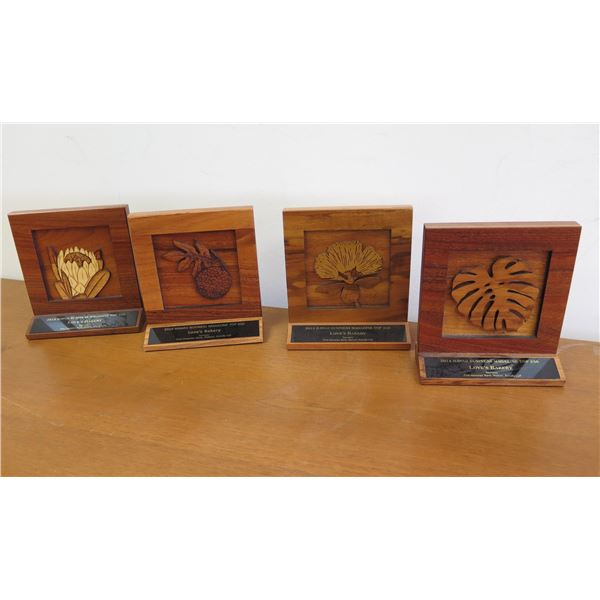 """Qty 4 Carved Wooden Hawaii Business Magazine Awards approx. 6"""" Each"""