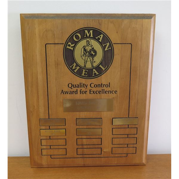 """Roman Meal Quality Control Award for Excellence Baker's Plaque 11""""x15"""""""