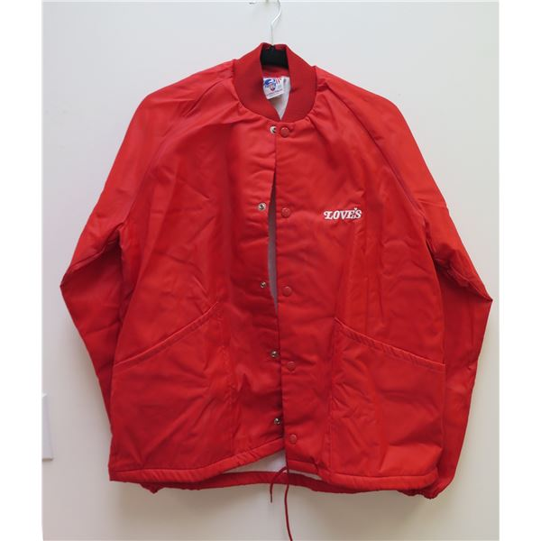 Love's Logo Red D.G.Sportswear Snap-Front Jacket, Size Medium