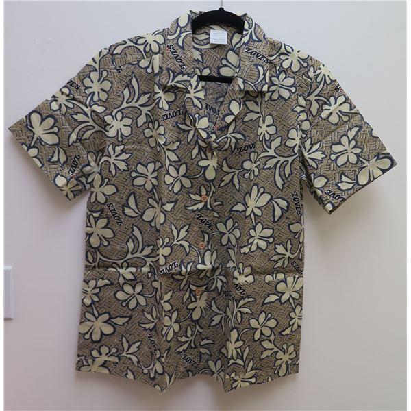 Love's Logo Tan Aloha Shirt, Size Adult Large