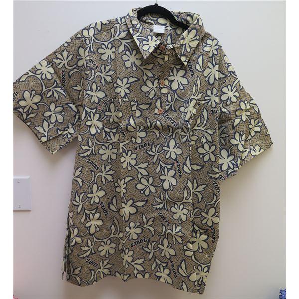 Love's Logo Tan Aloha Shirt, Size Adult 3XL