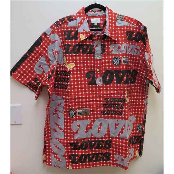 Love's Logo Red/Black/Gray Aloha Shirt Size 3XL