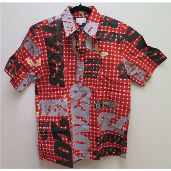 Love's Logo Red/Black/Gray Aloha Shirt Size Small