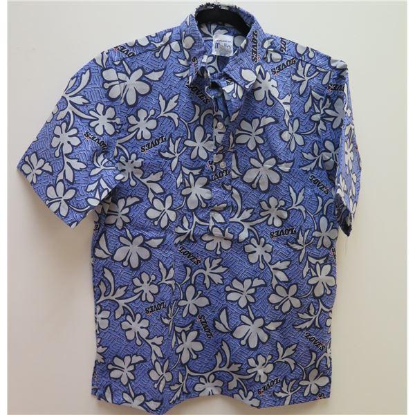 Love's Logo Blue Aloha Shirt Size Medium