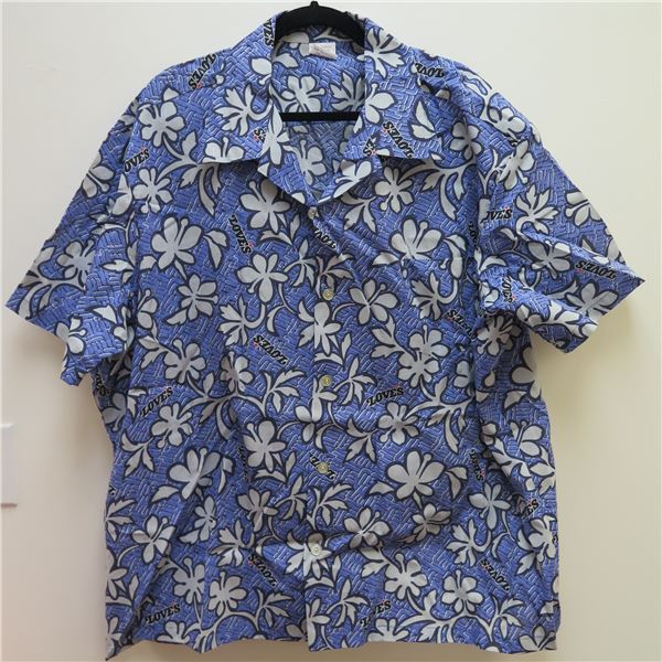 Love's Logo Blue Aloha Shirt Size Adult 4X