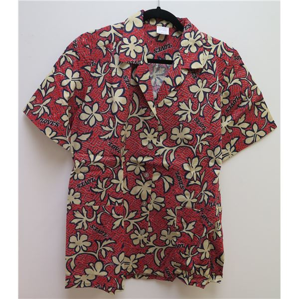 Love's Logo Red Aloha Shirt Size Adult Medium