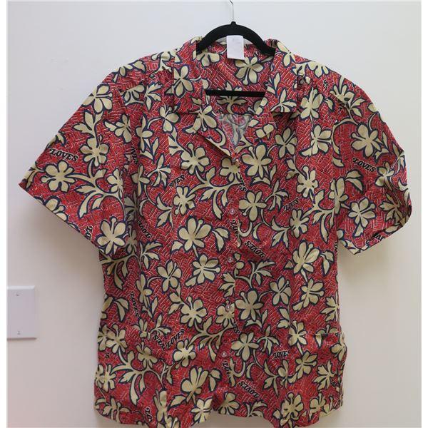 Love's Logo Red Aloha Shirt Size Adult 3XL