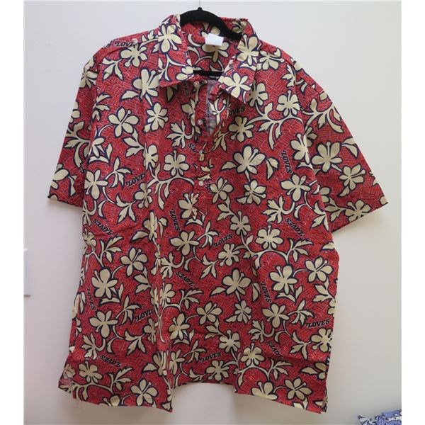 Love's Logo Red Aloha Shirt Size Adult 4XL