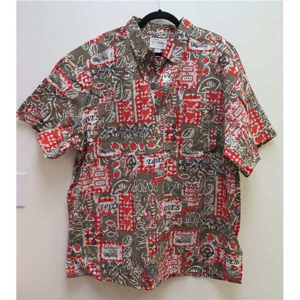 Love's Logo Red/Gray/Brown Aloha Shirt Size 3XL