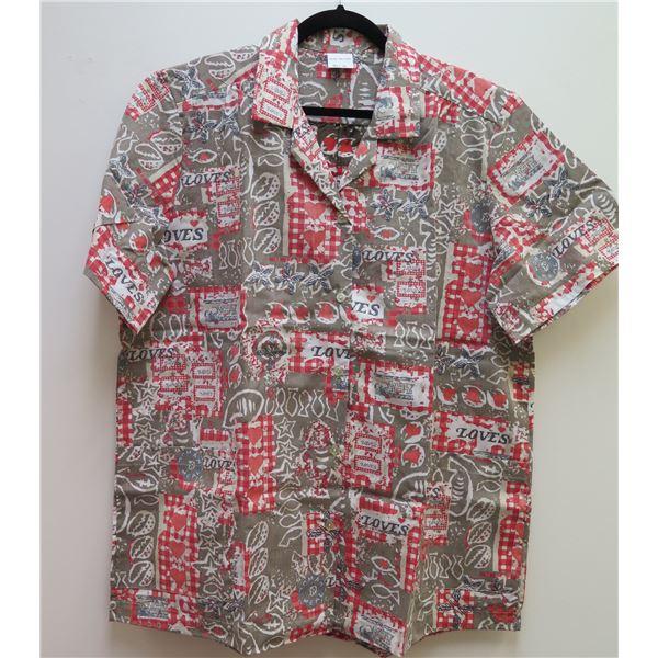 Love's Logo Gray/Brown/Red Aloha Shirt Size 2XL
