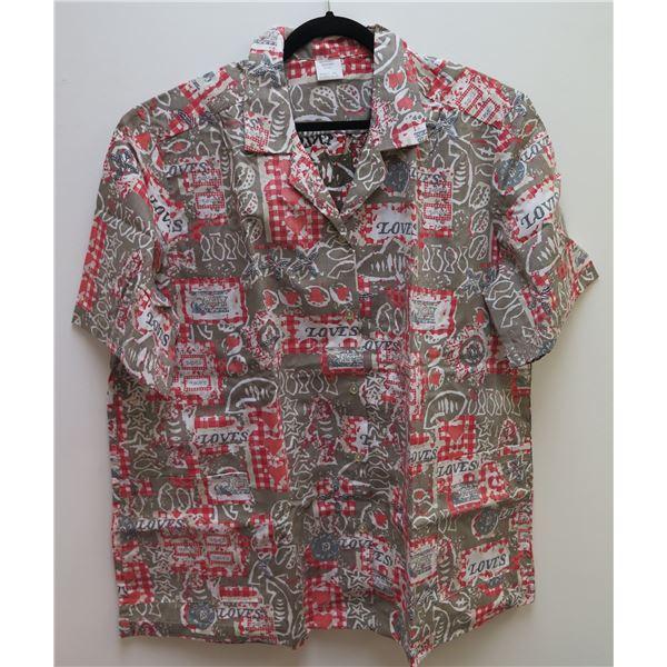 Love's Logo Gray/Brown/Red Aloha Shirt Size Adult 3XL