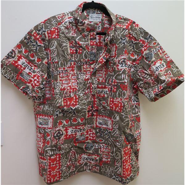 Love's Logo Red/Gray/Brown Aloha Shirt Size XL
