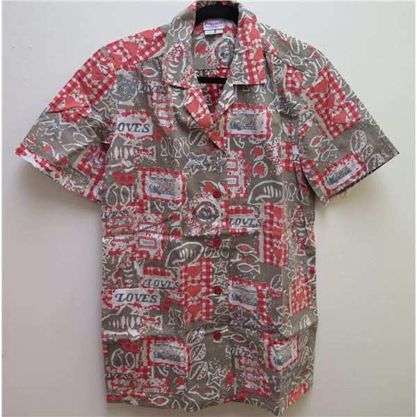 Love's Logo Gray/Brown/Red Aloha Shirt Size Small