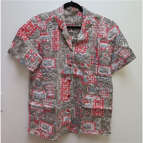 Love's Logo Gray/Brown/Red Aloha Shirt Size Adult XL