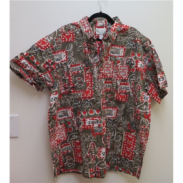 Love's Logo Red Gray House of Uniforms Aloha Shirt Size 2XL