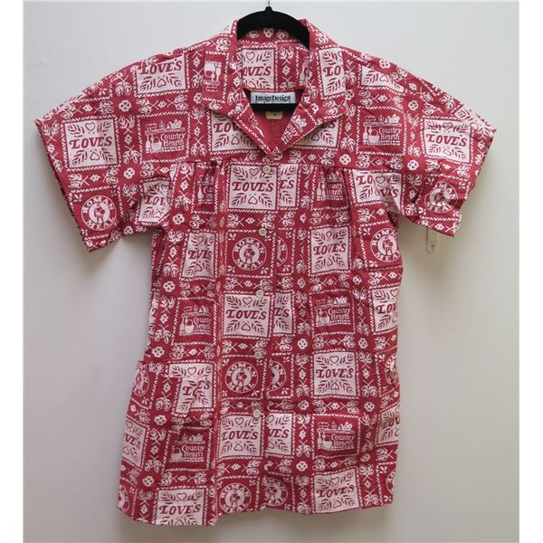 Love's Logo Themed Red Shirt Size 14