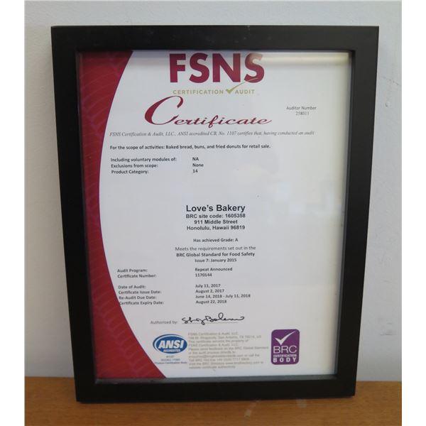 """FSNS Certification Audit Framed BRC Global Standard for Food Safety 10""""Wide"""