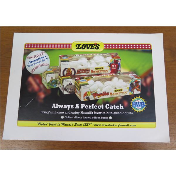 """Love's Donettes 'Always a Perfect Catch' Baseball Promo Print 13""""x9"""""""