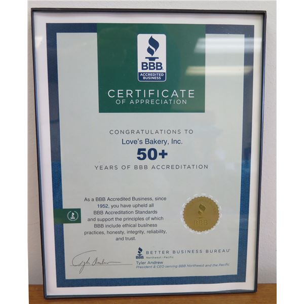 """Love's Bakery BBB Certificate 50+ Years Accreditation, Framed 9""""x11"""""""