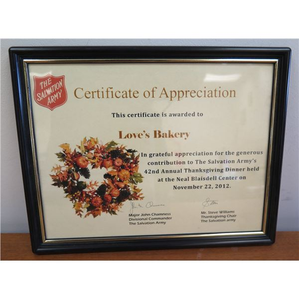"""Love's Bakery Salvation Army Certificate of Appreciation, Framed 12""""x10"""""""