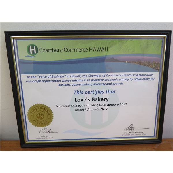 "Love's Bakery 'Chamber of Commerce Hawaii' Member Certificate 11""x9"""