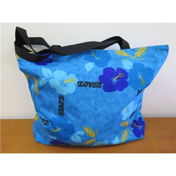 Love's Logo Tote Bag, Blue with Hibiscus Motif