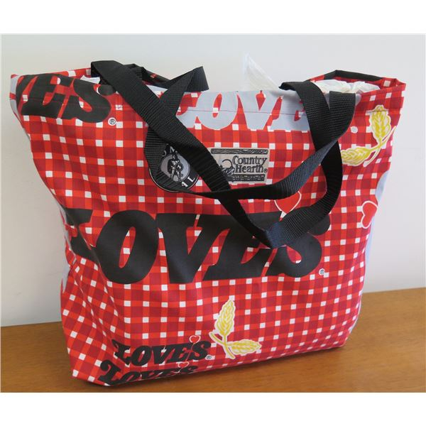 Love's Logo Red/Black Checked Country Hearth Tote Bag