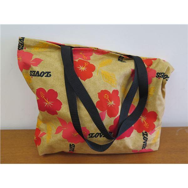 Love's Logo Tote Bag, Yellow/Tan with Hibiscus Motif